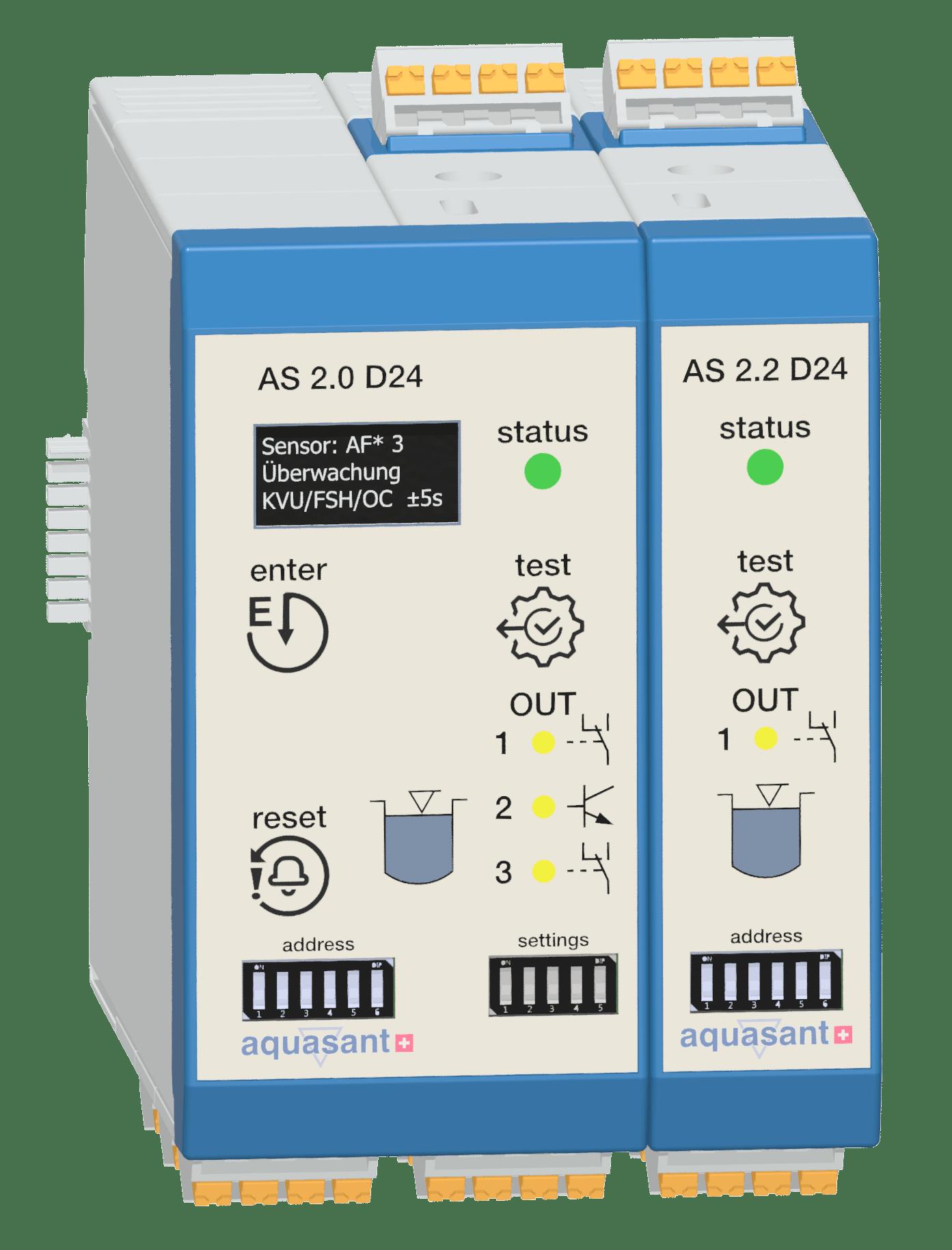 Aquasant Steuergerät AS1.3 überwacht und alarmiert mit dem IR Flüssigkeitsfühler AF1* das Überfüllen